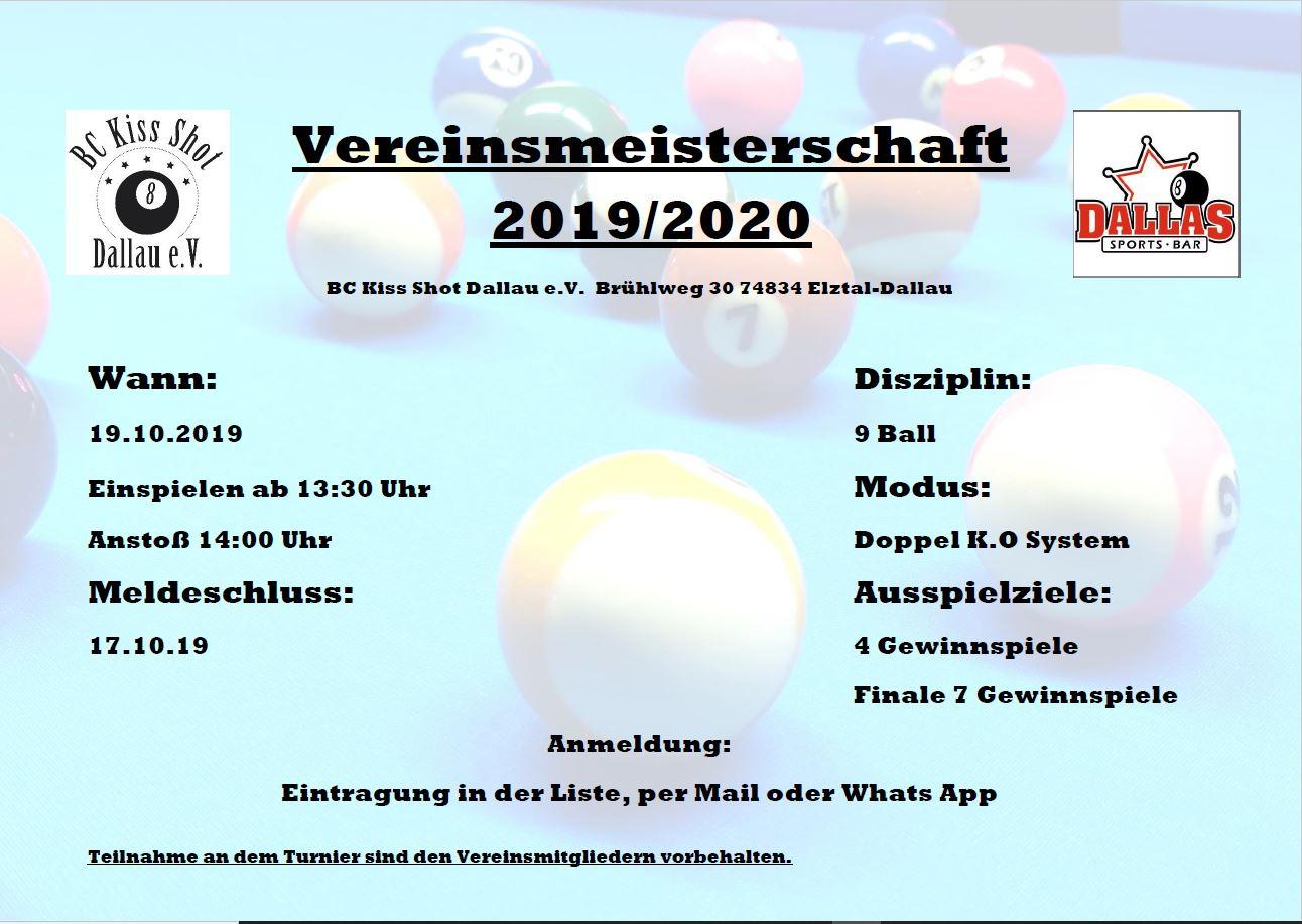 Vereinsmeisterschaft 2019/2020